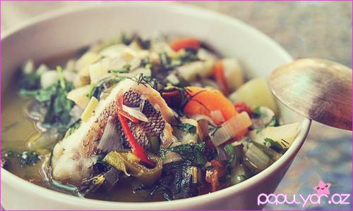 Balkan üsulu balıq şorbası + Şəkillər
