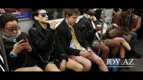 New York metrosunda şalvarsız gün