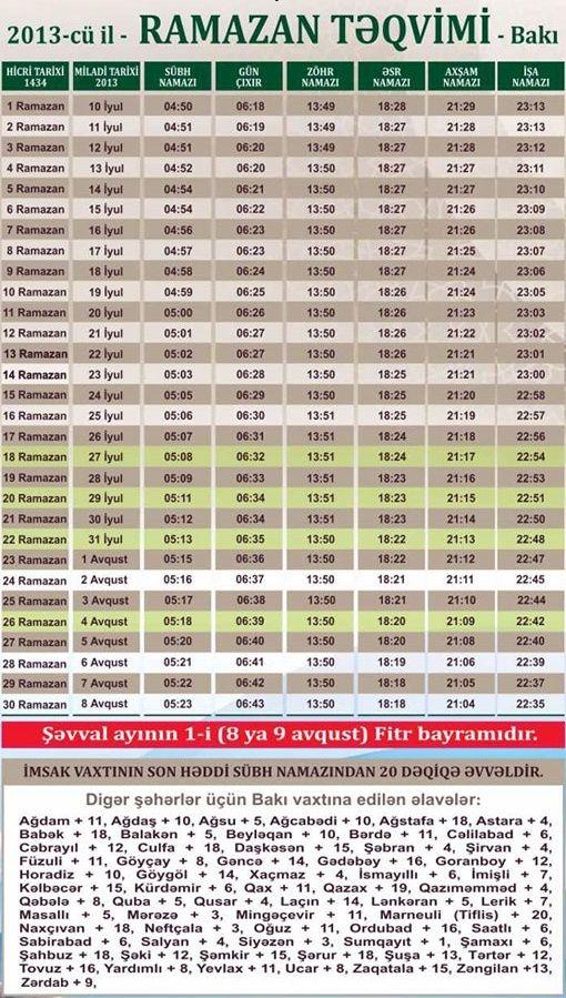 2013-cü il Ramazan təqvimi (Cədvəl)