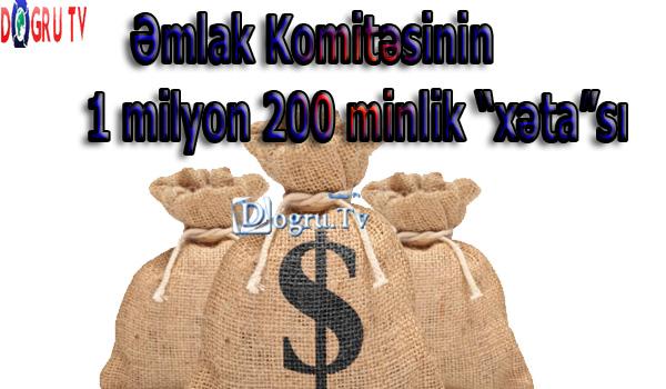 """Əmlak Komitəsinin 1 milyon 200 minlik """"xəta""""sı"""