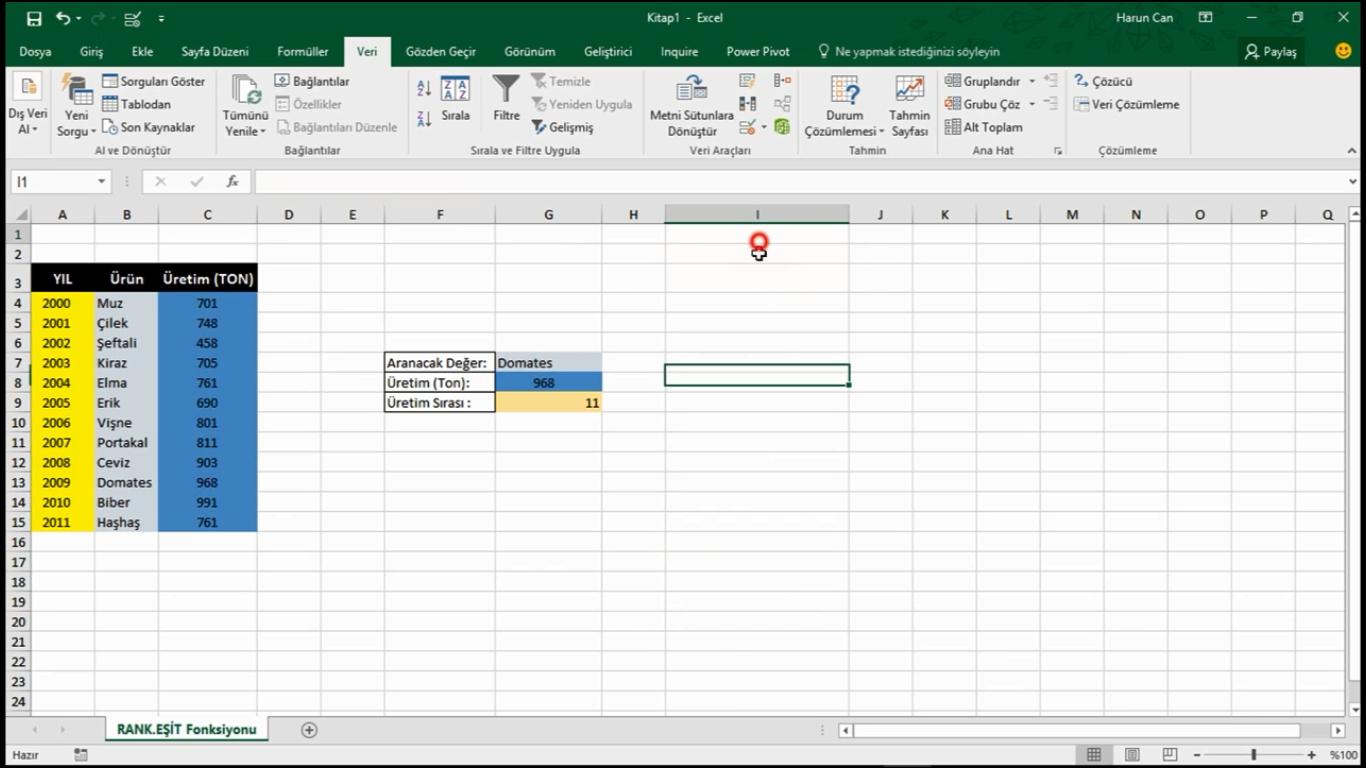 Excel 2016 Dərsləri [Türkcə] - 120 dərs
