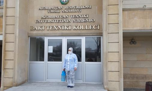 AzTU-nun nəzdində Bakı Texniki Kollecində dezinfeksiya işləri aparılıb