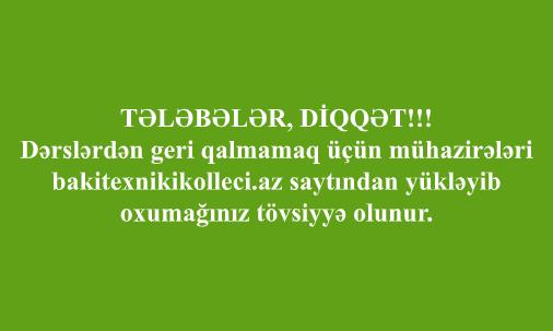 TƏLƏBƏLƏR, DİQQƏT!!!