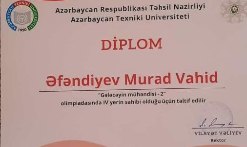 """Gələcəyin mühəndisi-2"""" olimpiadasında Bakı Texniki Kollecinin tələbəsi IV yeri tutmuşdur."""