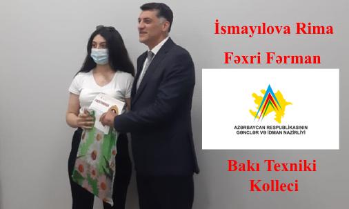 Bakı Texniki Kollecinin tələbələri Nizami Rayon Gənclər və İdman İdarəsi tərəfindən mükafatlandırıldı.