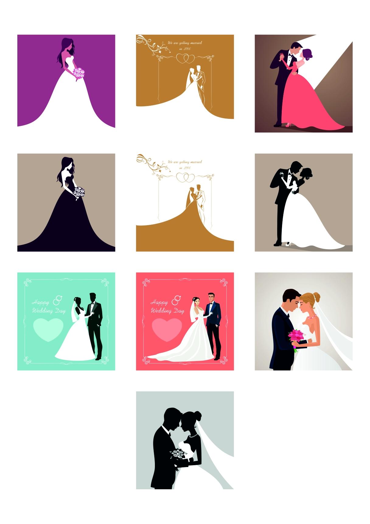 Happy wedding day invitation vector